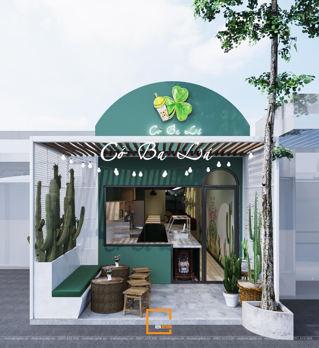 Thiết kế quán trà sữa và đồ ăn vặt Cỏ Ba Lá tại Đăk Nông