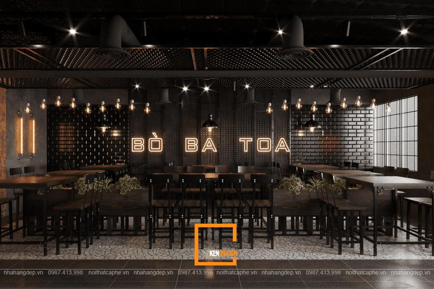 Thiết kế nhà hàng Lẩu bò Ba Toa với phong cách industrial chuẩn đẹp