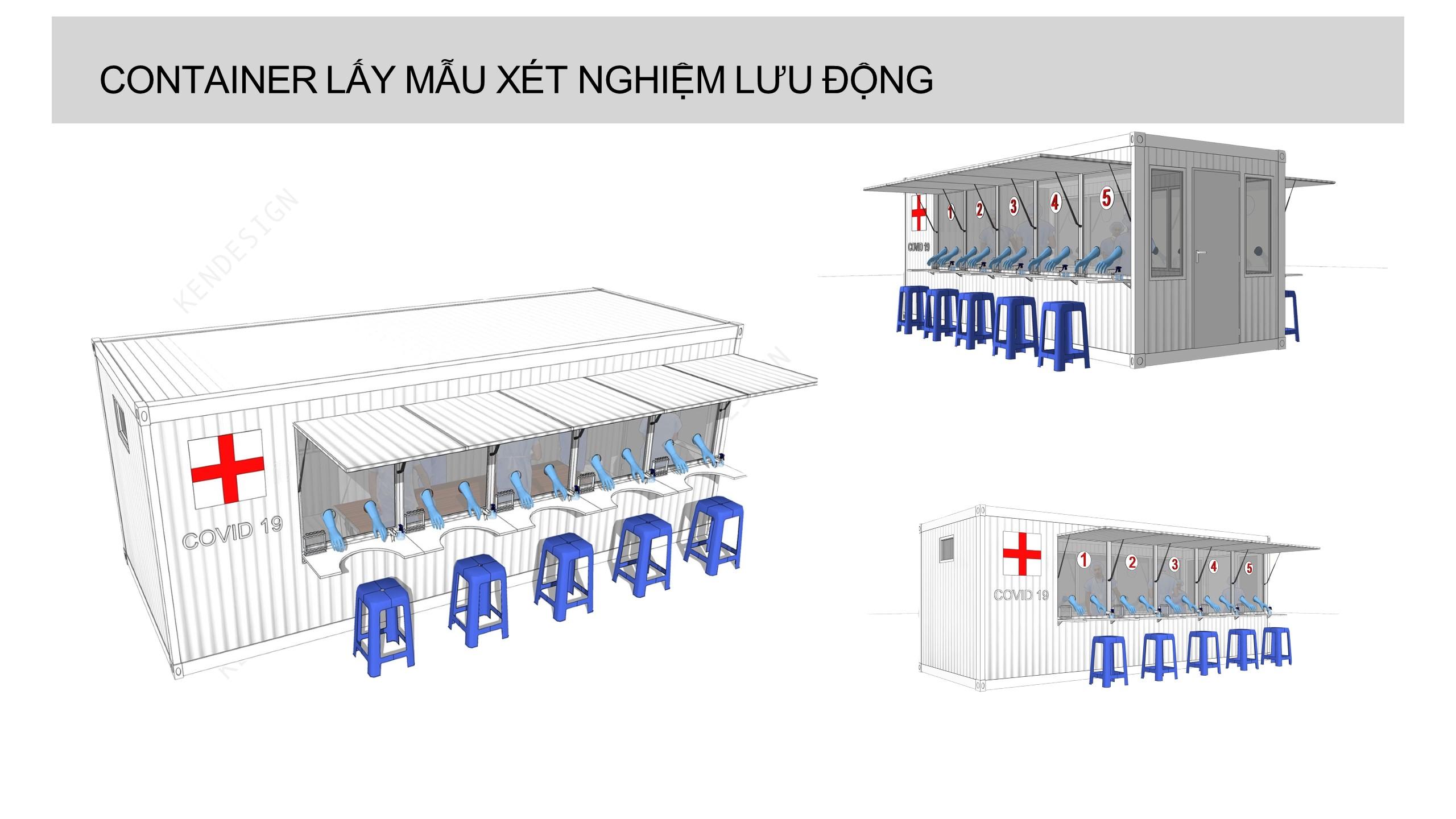 Thiết kế container lấy mẫu xét nghiệm lưu động phục vụ công tác chống dịch Covid 19