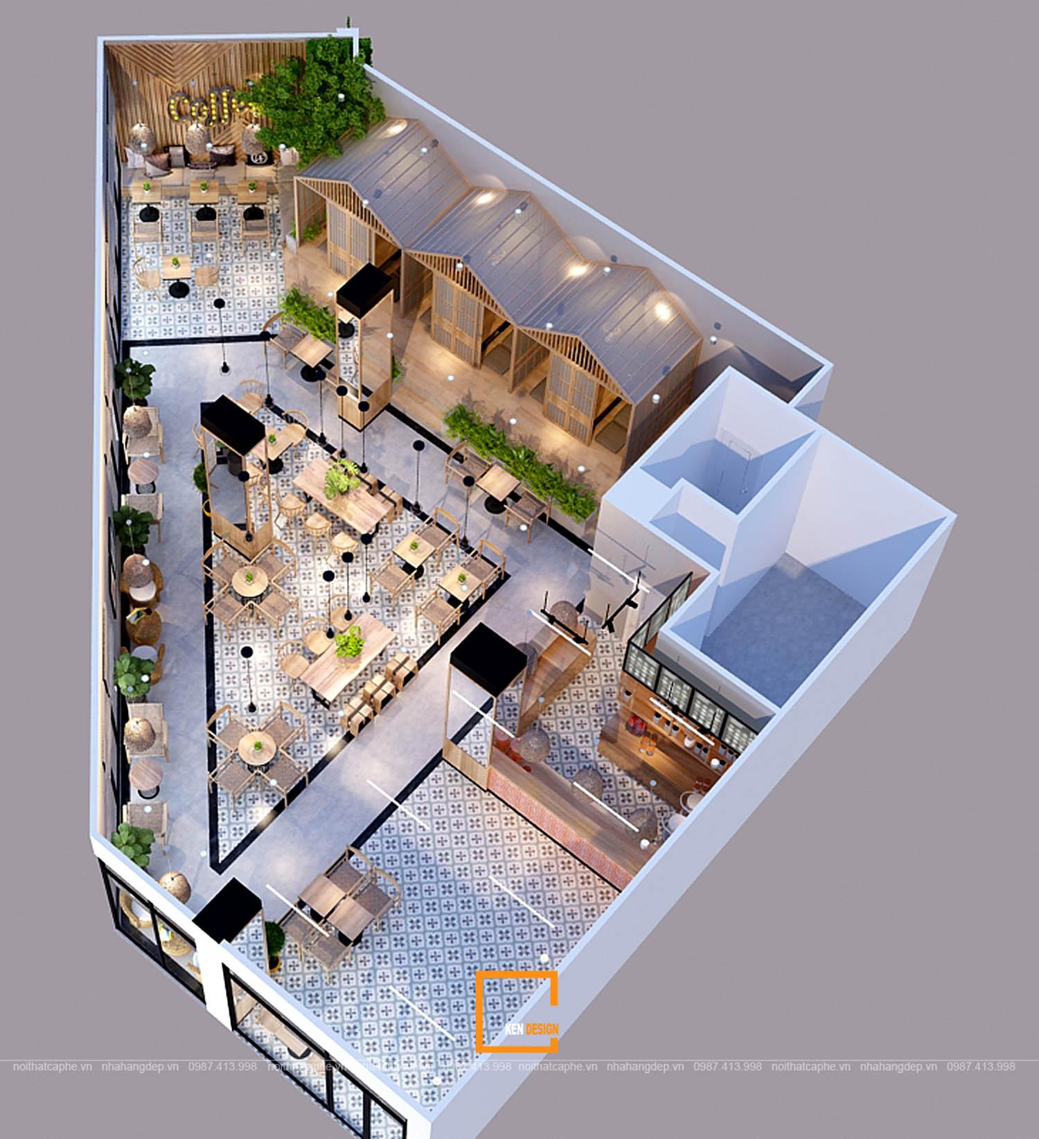 Bản vẽ 3D thiết kế quán cafe