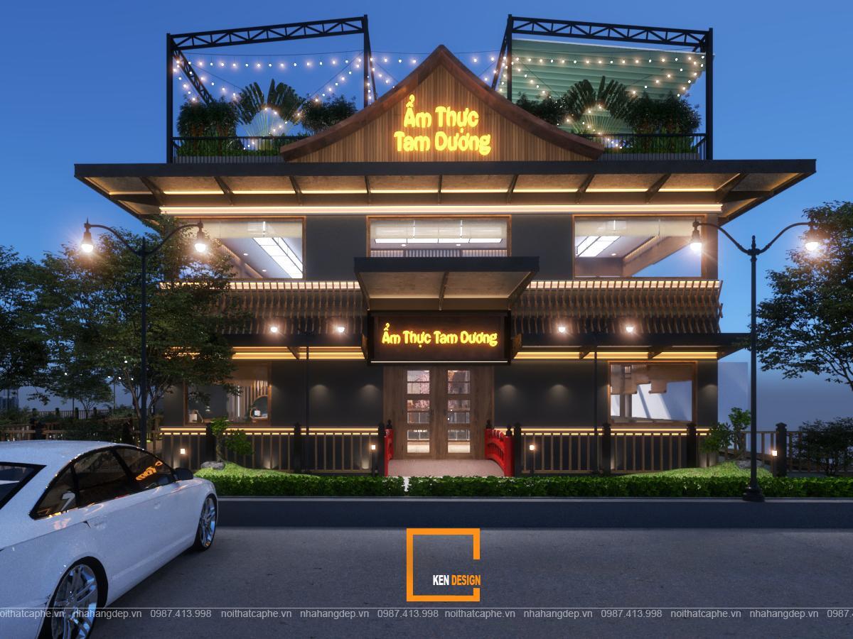 Thiết kế mặt tiền nhà hàng ấn tượng