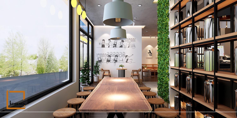 thiết kế quán trà sữa hiện đại,