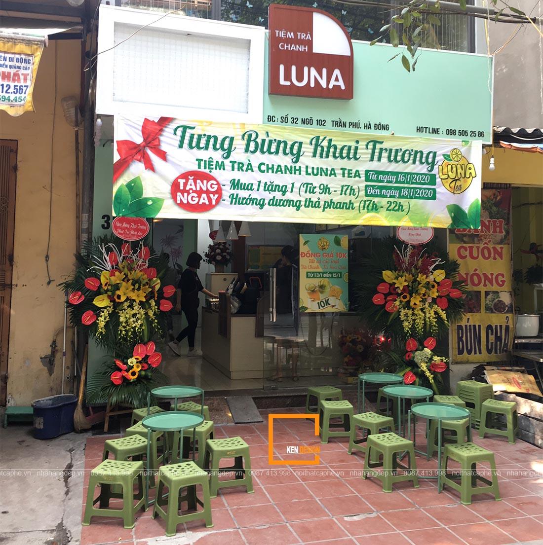 Thi công quán trà chanh Luna
