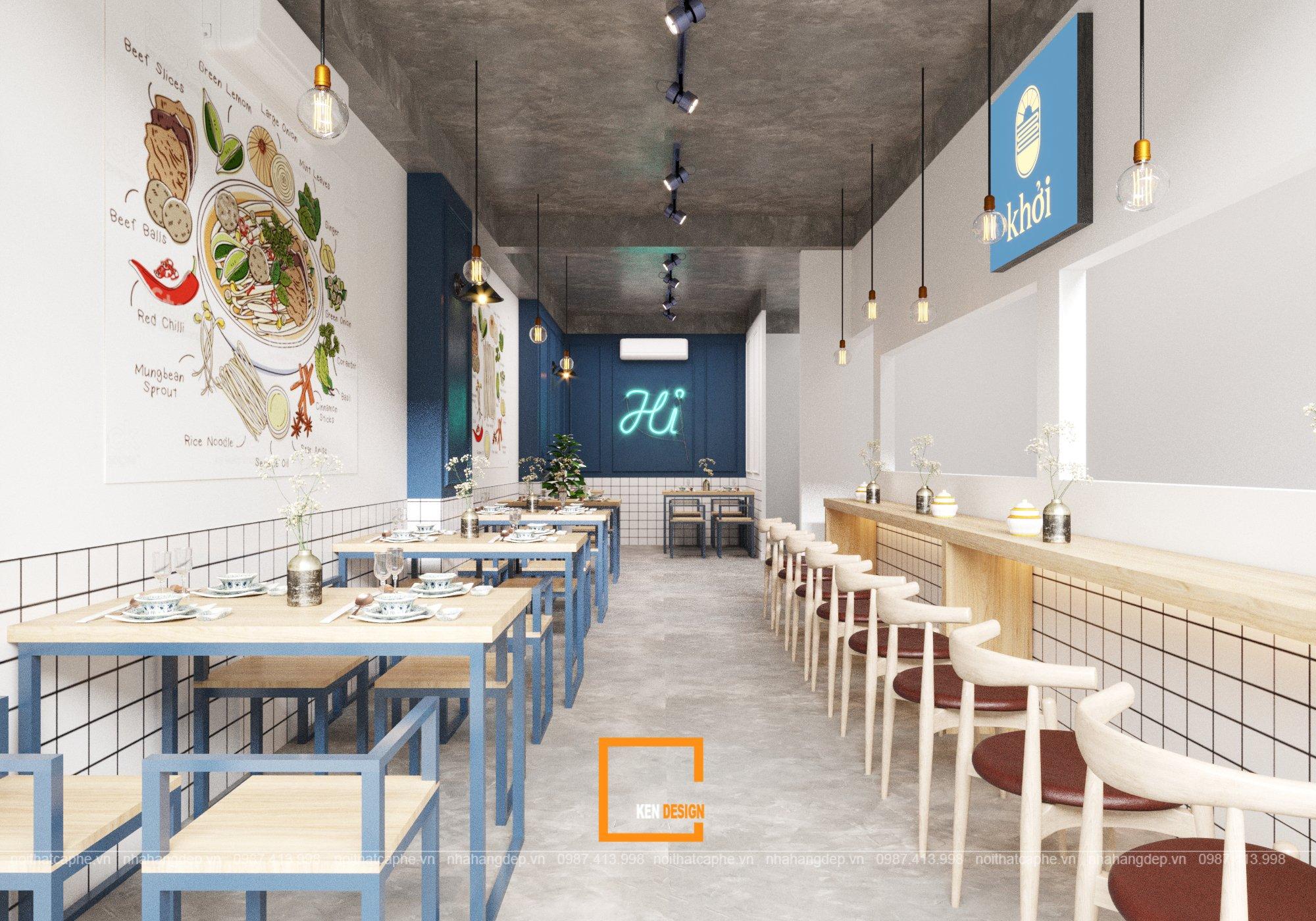 Gia vị hiện đại hòa quyện trong thiết kế nhà hàng bún khởi