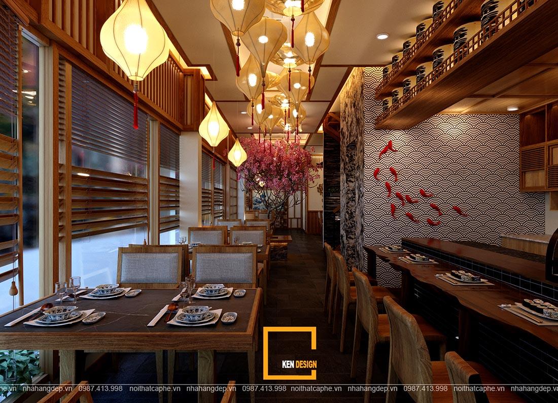 Thiết kế nhà hàng Nhật Bản truyền thống đẹp nhẹ nhàng, thu hút