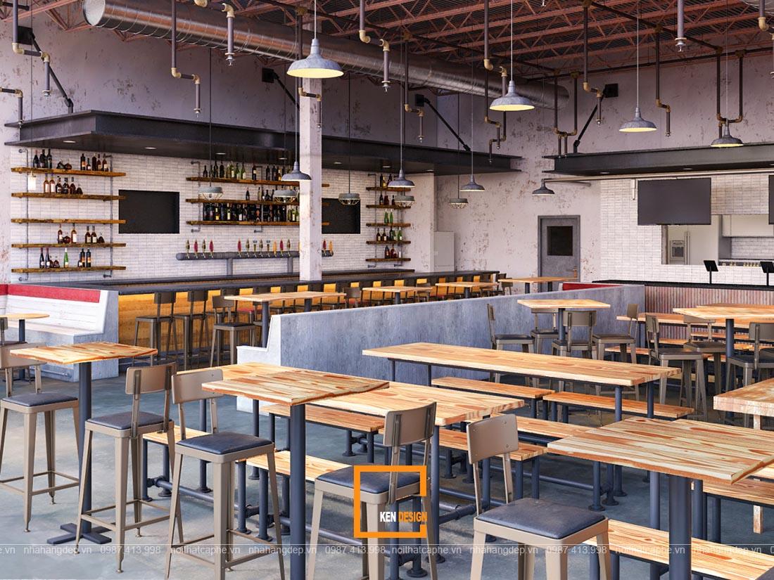 thiết kế nhà hàng phong cách công nghiệp