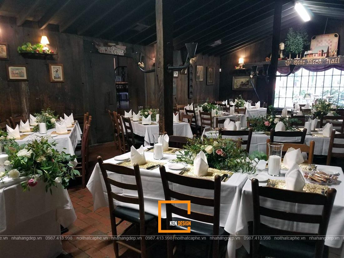 thiết kế nhà hàng tiệc cưới phong cách vintage