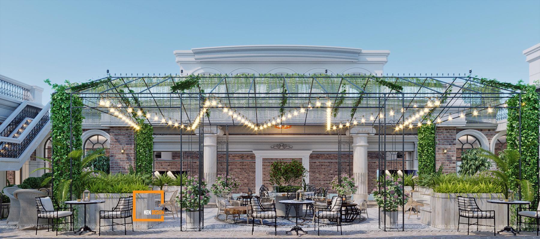 Thiết kế quán cà phê sân vườn với kiến trúc tân cổ điển ấn tượng tại Thanh Hóa