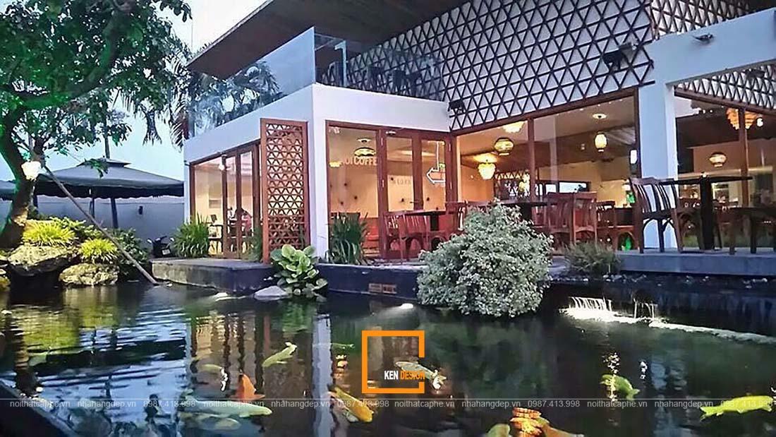 thiết kế quán cafe cá Koi