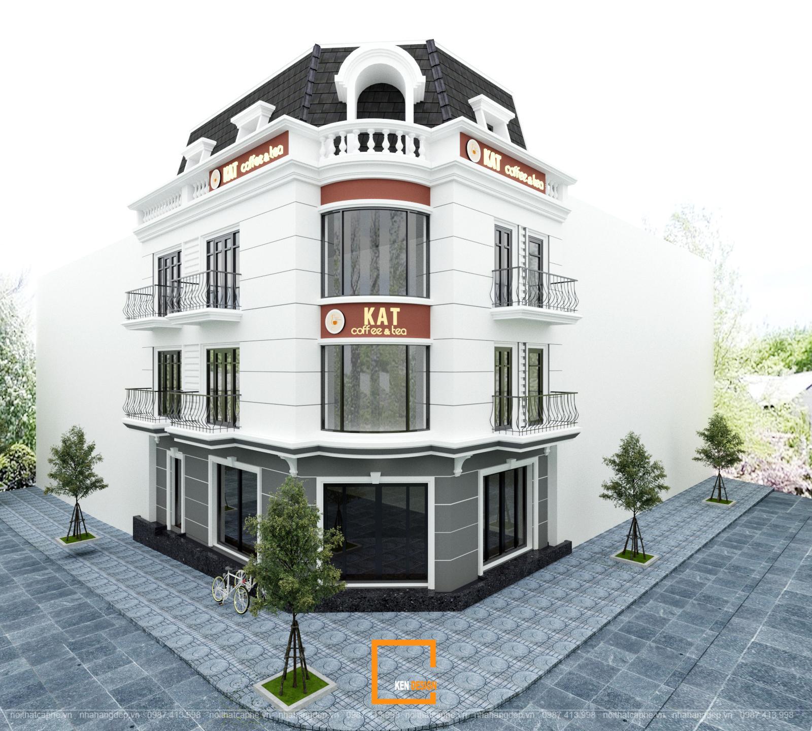 Thiết kế quán cafe Kat Coffee & Tea hiện đại, trẻ trung tại Vincom Phú Thọ