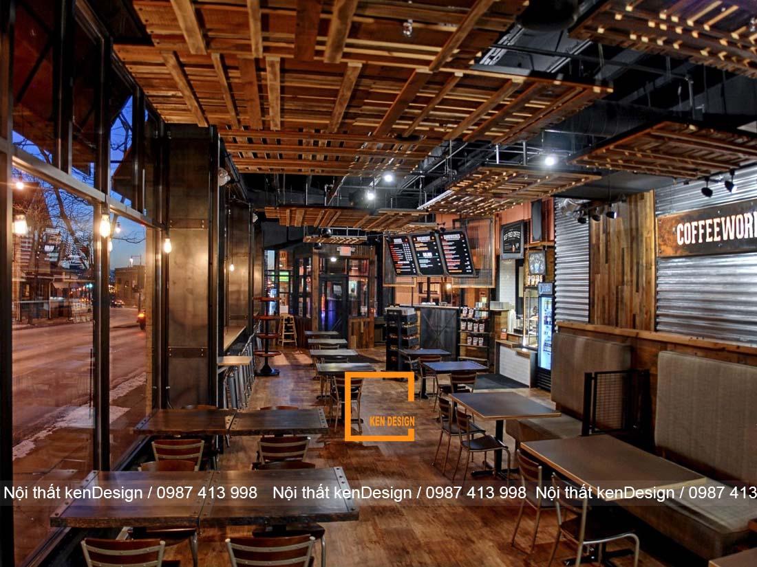 thiết kế quán cafe phong cách Rustic