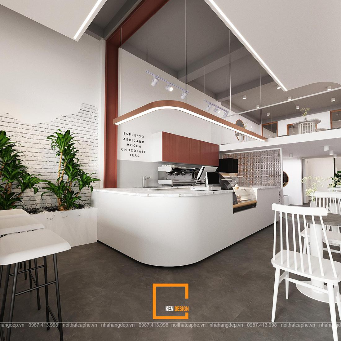 Thiết kế quán cà phê theo phong cách hiện đại trẻ trung ở Quận 1, Hồ Chí Minh