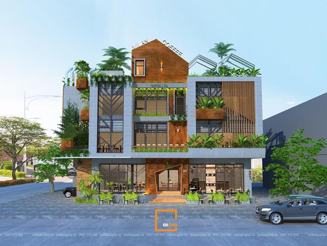 Thiết kế quán MiLan Coffee – khu vườn xanh giữa lòng phố thị