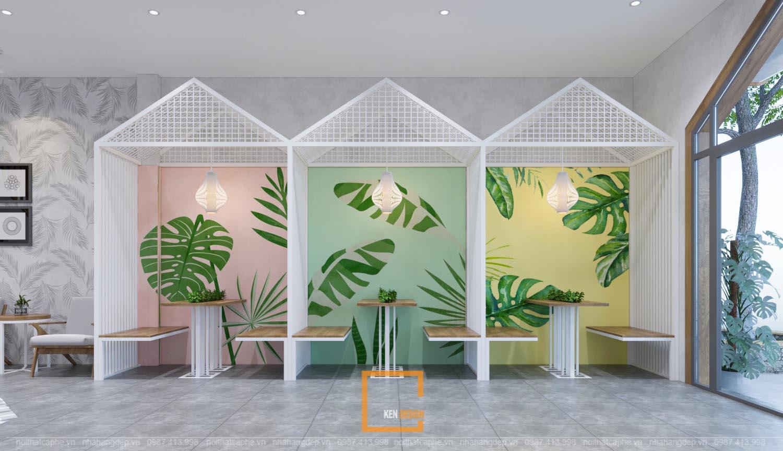 thiết kế quán trà sữa phong cách nhiệt đới