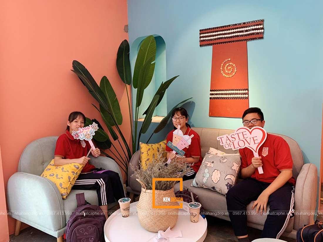 thiết kế quán trà sữa phong cách Retro