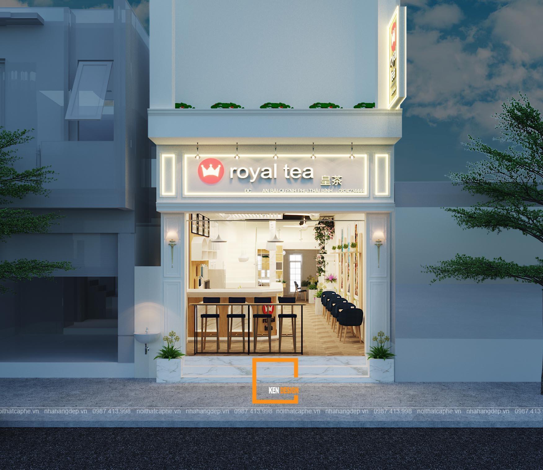 Thiết kế quán trà sữa Royal Tea Thái Bình