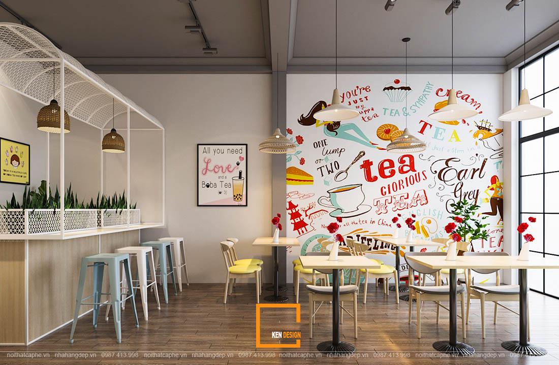 thiết kế quán trà sữa tại Bình Dương