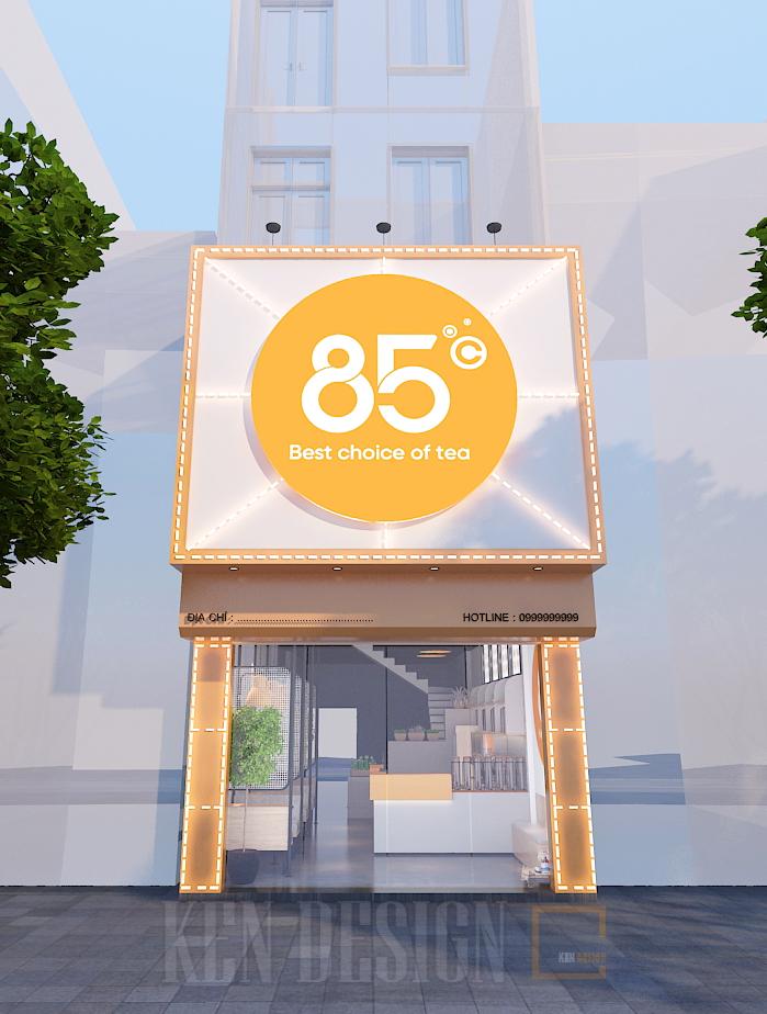 thiết kế quán trà sữa 85 độ C