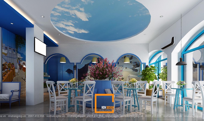 Thiết kế quán trà sữa Santorini Tea