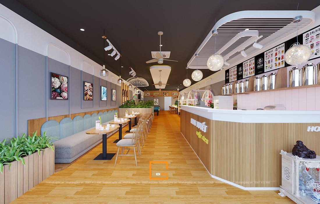 thiết kế quán hoa tuyêt coffee& tea