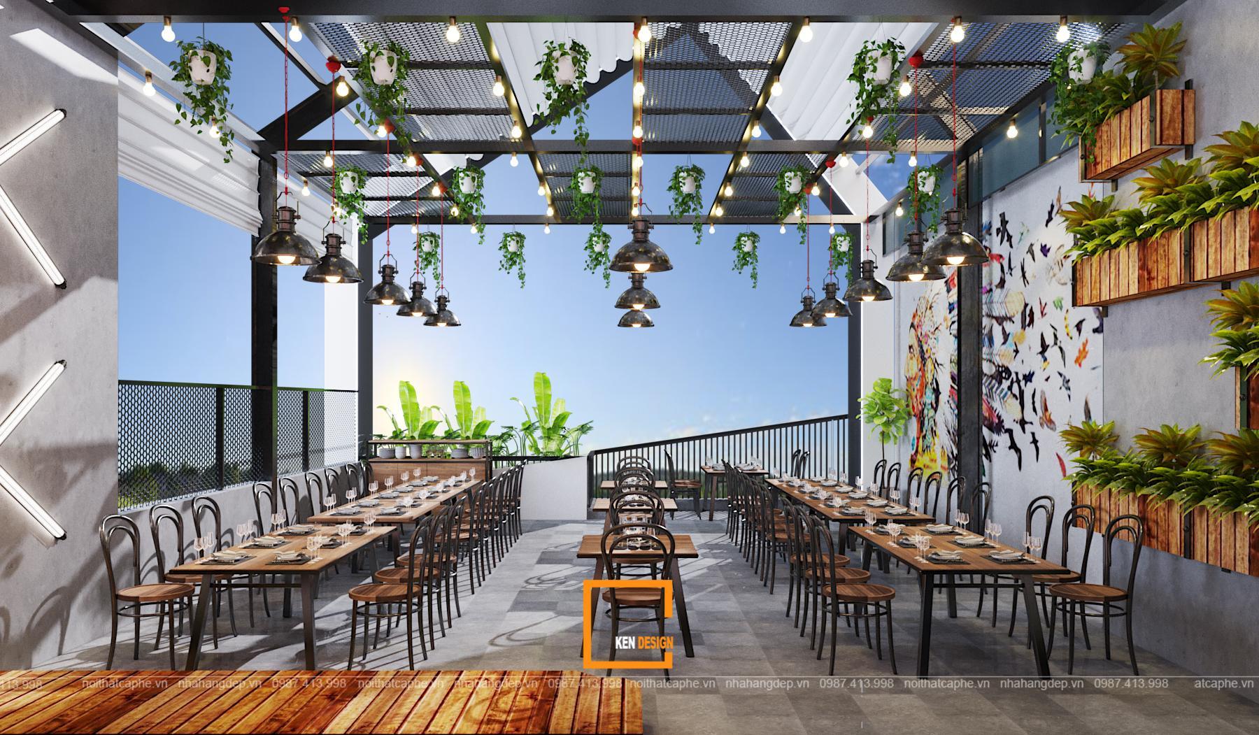 thiết kế nhà hàng tại Nam Định phong cách sân vườ