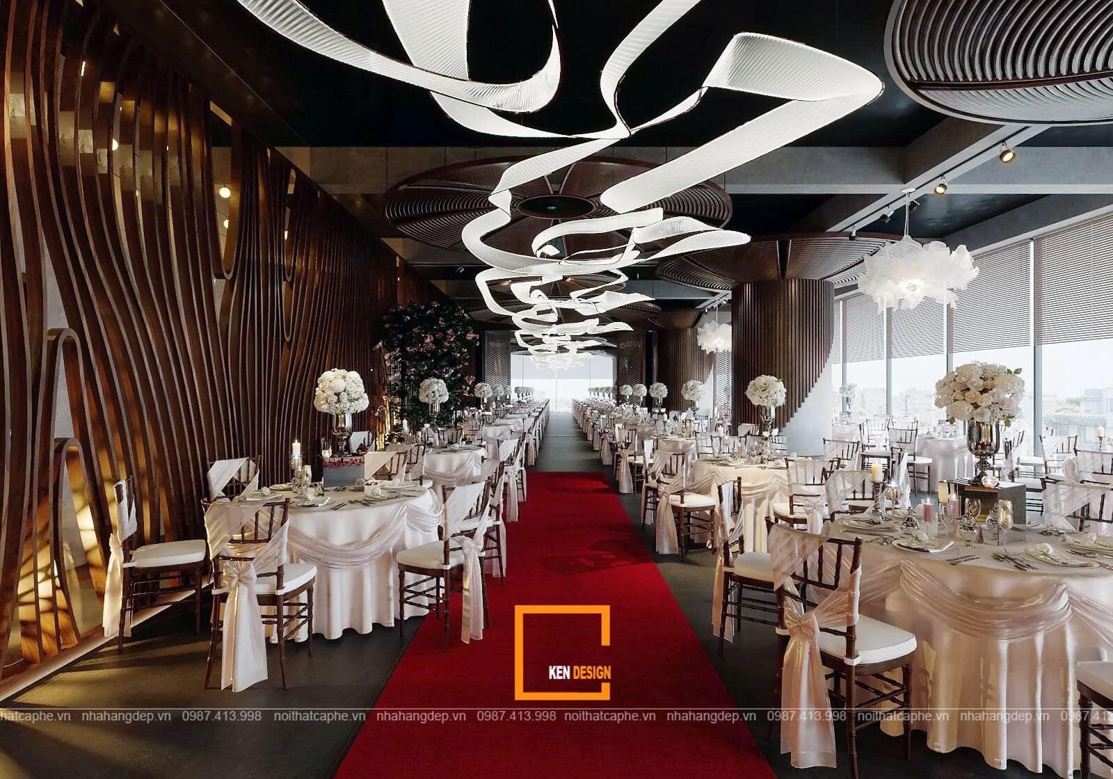 Thiết kế trần tường nhà hàng tiệc cưới