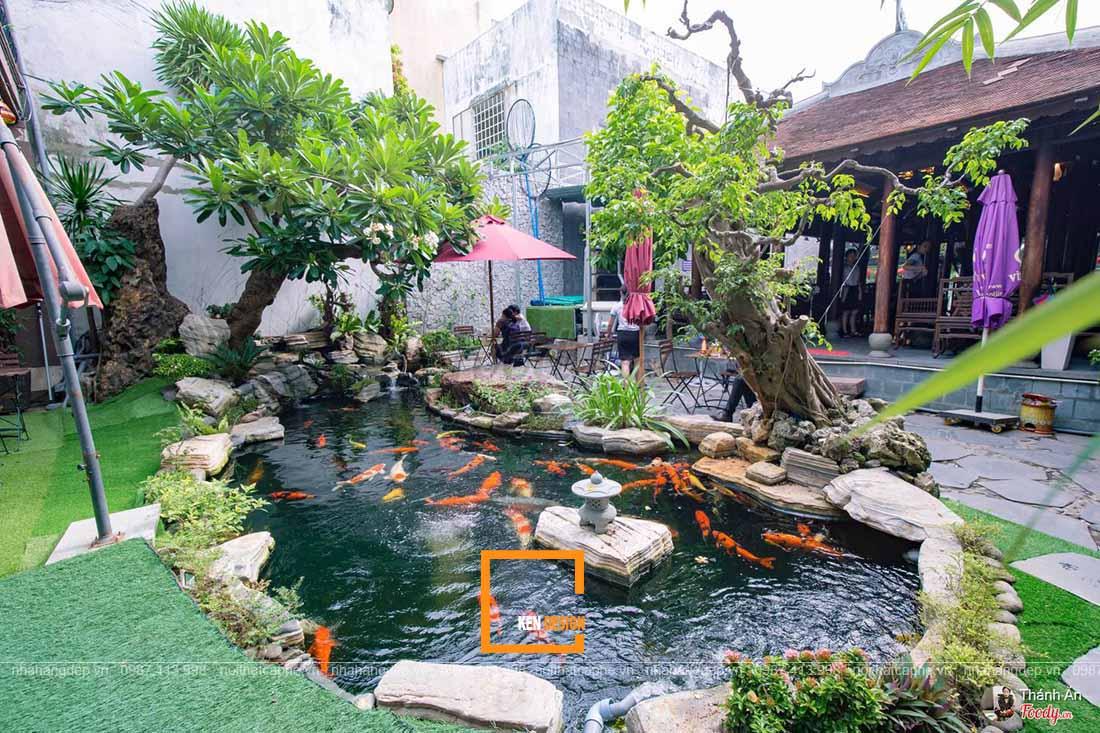 thiết kế quán cafe cá koi sinh thái