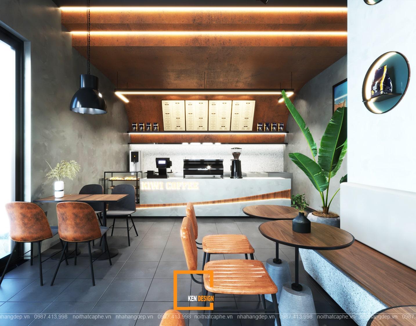 Thiết kế quầy bar quán cafe Kiwi Coffee & Tea