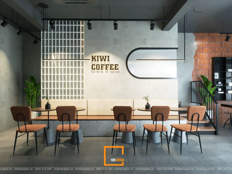 Thiết kế lầu 1 quán cafe Kiwi Coffee