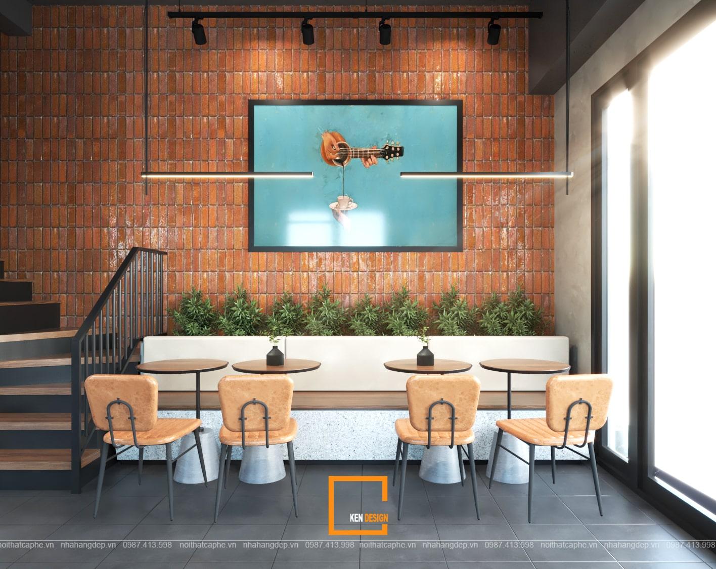Thiết kế tường trần quán cafe Kiwi Coffee & Tea
