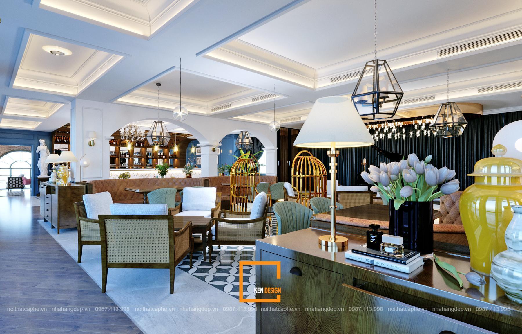 Thiết kế không gian quán cafe phong cách Châu Âu