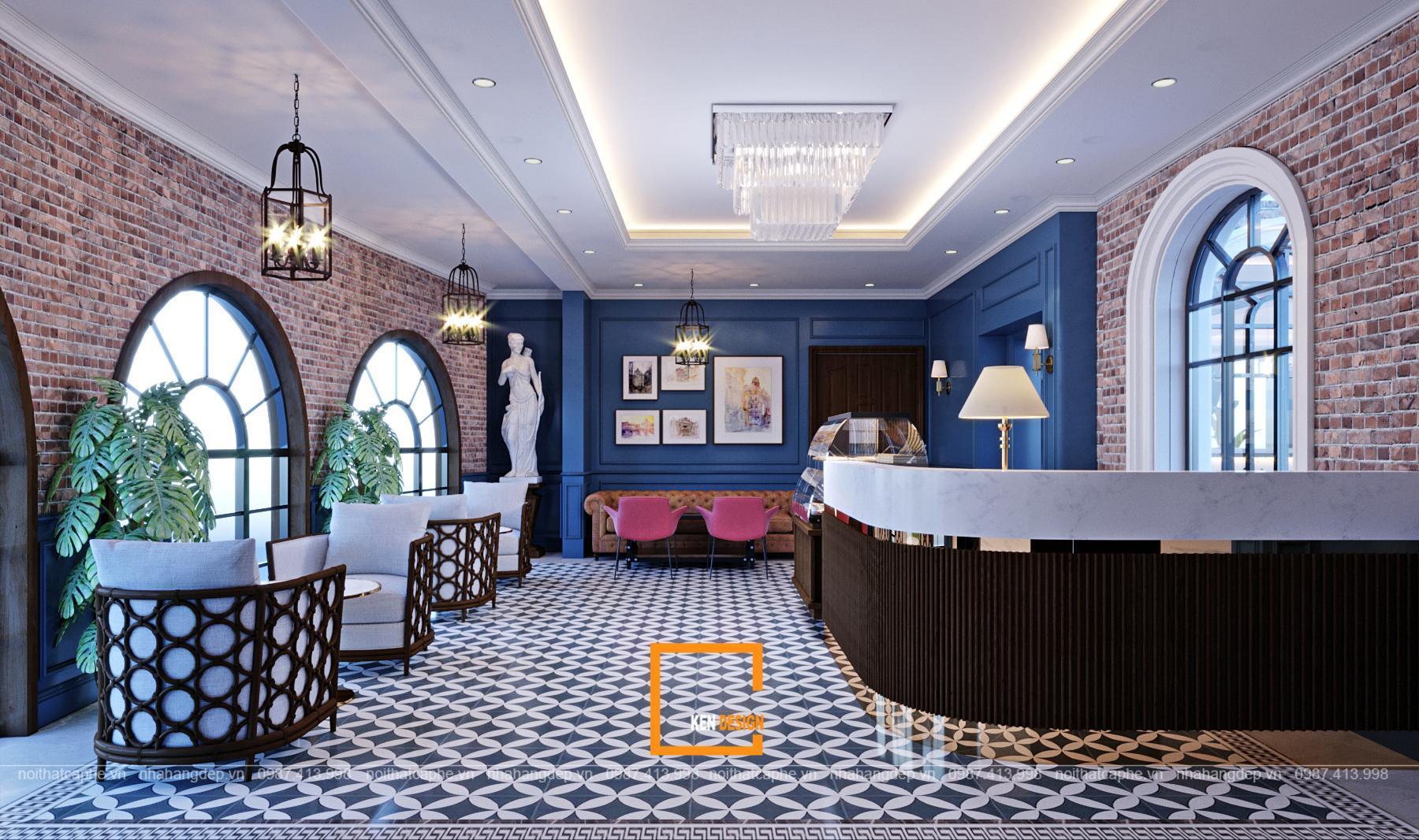 Bố trí không gian quán cafe kiêu Châu Âu