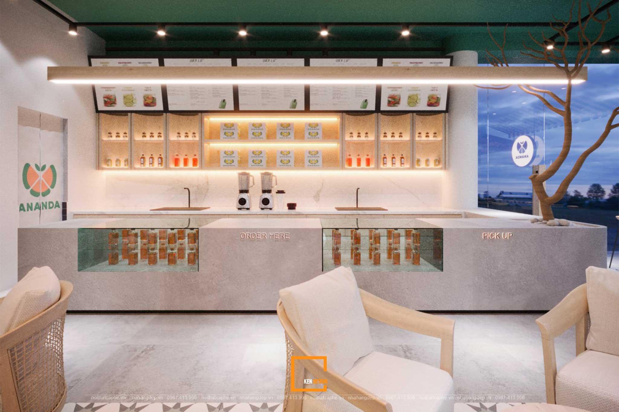 thiết kế quầy bar tiệm trái cây Ananda Fruits