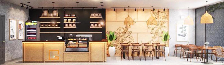 Thiết kế quán Xanh Coffee